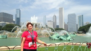 Buckingham Fountain and Chicago City Skyline providing the backdrop to my 2014 Chicago Triathlon finish. Photo by random fellow competitor. :-)